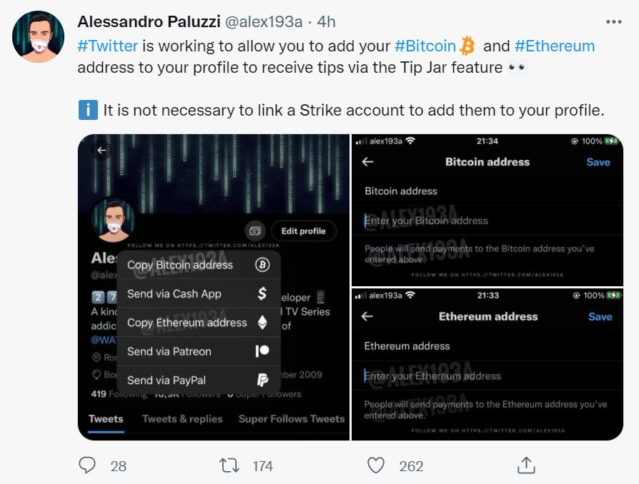 推特正测试在个人资料上显示比特币和以太坊地址的功能